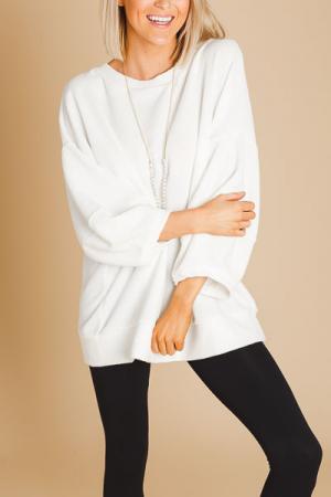 Terri Plush Pullover, White