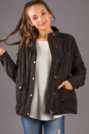 Warm Inside Quilted Jacket, Black
