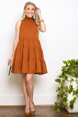 Caitlyn Tiered Dress, Camel