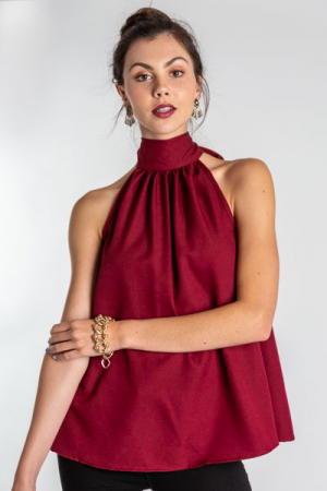 High Halter Top, Burgundy