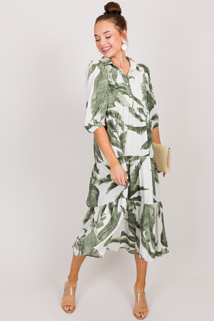 Palm Leaf Tiered Midi