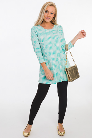 Houndstooth Knit Tunic, Mint