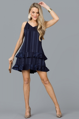 Tonal Stripe Slip Dress, Navy