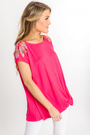Feather Weather Top, Coral