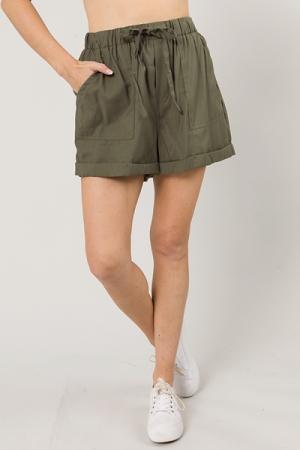 Cuffed Twill Shorts, Olive