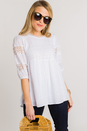 Crochet Detail Top, White