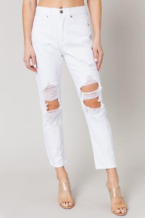Destroyed Girlfriend Jeans, White