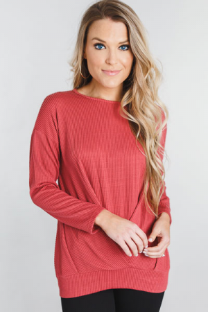 Ribbed Twist Pullover, Rust