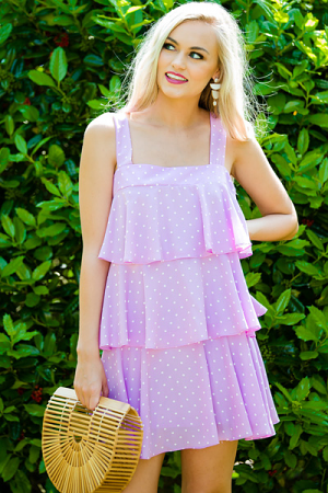 Dotted Doll Dress, Lavender
