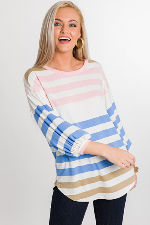 Sally Striped Tunic, Pink