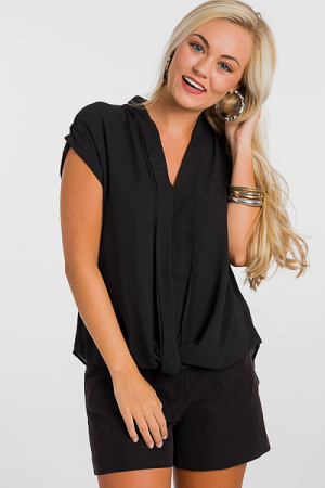 Twist Hem Blouse, Black