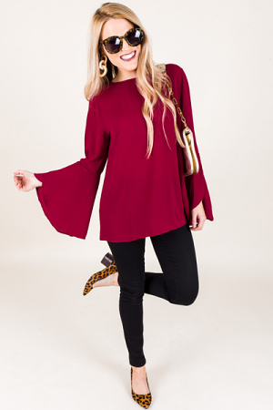 Bella Bell Sleeve Top, Red