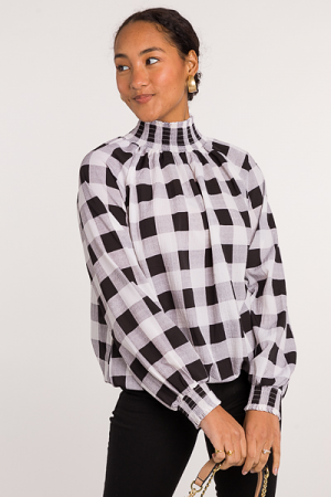 Buffalo Plaid Smock Blouse, White