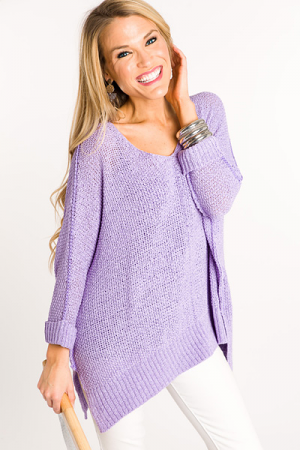 Folded Cuffs Sweater, Lavender