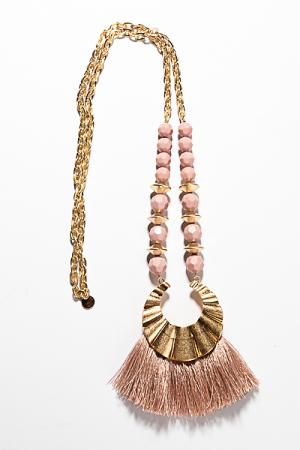 Beaded Tassel Necklace, Blush