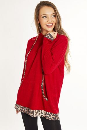 Pop of Cheetah Hoodie, Red