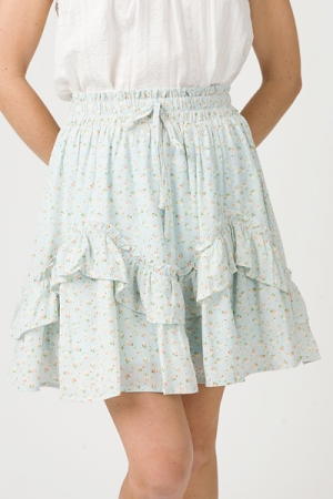 Rolling Ruffle Floral Skirt, Sky