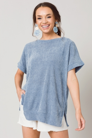 Chenille SS Pullover, Ink Blue