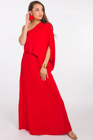 Slouchy 1 Sleeve Maxi, Red