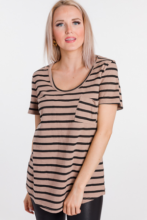 Scoop Neck Stripe Tee, Mocha