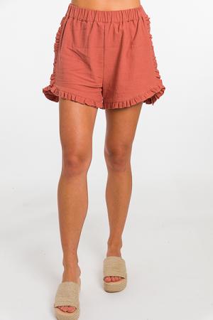 Ruffle Edge Shorts, Marsala