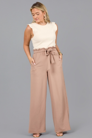 Adrianna Tie Front Pant, Taupe