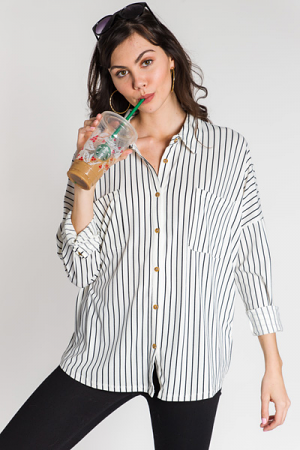 Stretchy Stripe Button Down, White