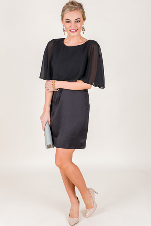 Sheer Cape Dress, Black