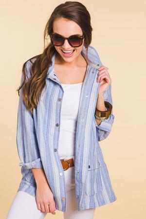 Striped Linen Utility Jacket, Blue