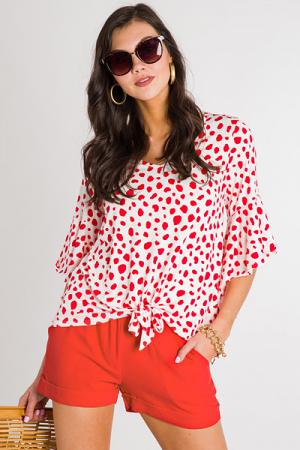 Dots & Spots Tie Top, Red