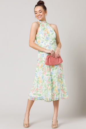 Floral Fancy Belted Midi, Ivory