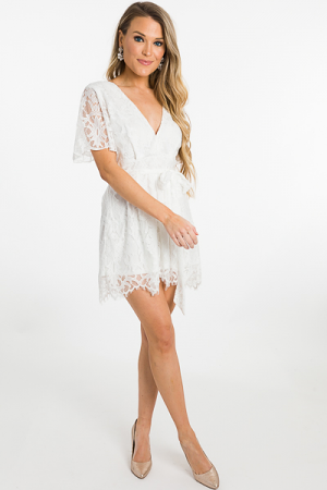 Lace to the Finish Romper, White