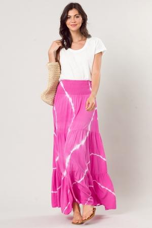 Tie Dye Maxi Skirt, Fuchsia