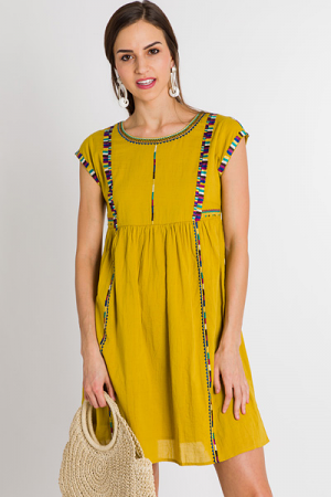 Zig Zag Embroidery Dress