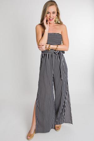 Smocked Stripes Jumpsuit