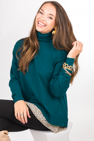 Center Seam Turtleneck, Green