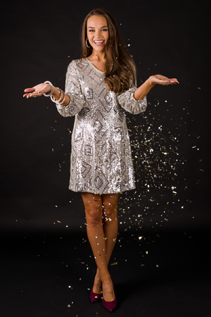Sequin Party Shift, Silver