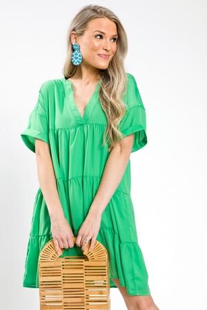 Smooth Babydoll Dress, Kelly Green