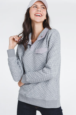 Quilted Grey Pullover