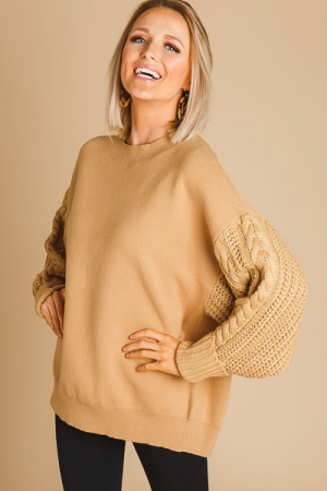 Cable Sleeves Sweater, Taupe