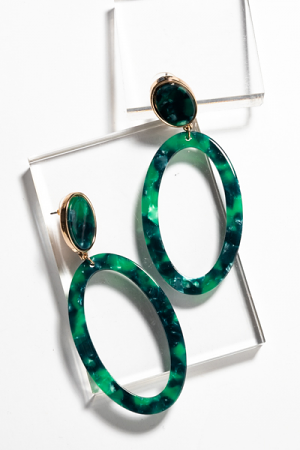 Acrylic Oval Earring, Green