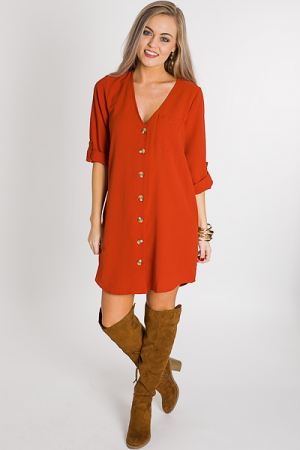 Buttoned V Dress, Rust