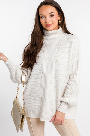 Cable Center Sweater, Bone