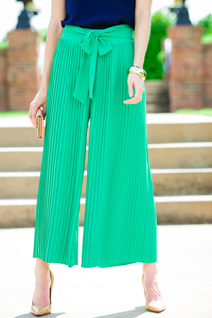 Pleated Pants, Green