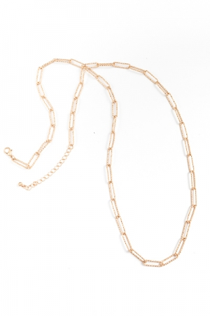 """36"""" Textured Chain Necklace, Gold"""