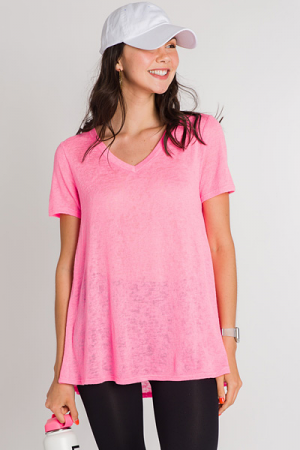 Neon Knit Tee, Pink