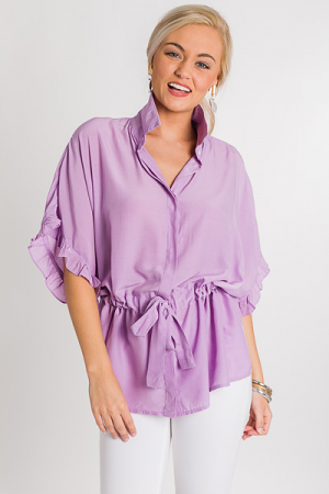 Cinch Me Button Blouse, Lavender