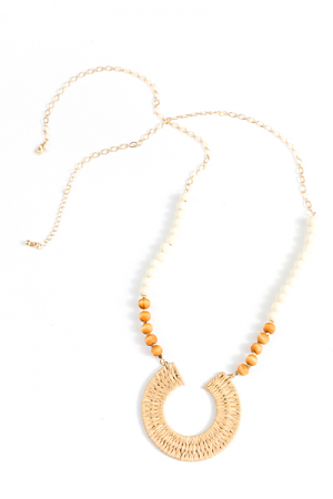 Raffia Circle Necklace