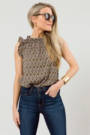 Knit Ruffle Tank, Camel/Black