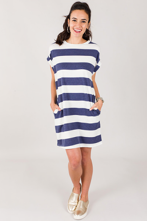 French Terry Stripe Dress, Blue